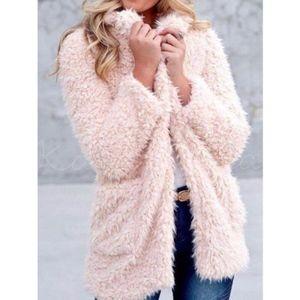 Jackets & Blazers - Shaggy Faux Fur Teddy Bear Coat in Blush